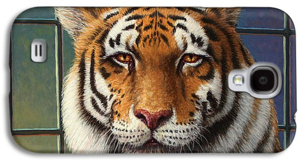 Cage Paintings Galaxy S4 Cases - Tiger in Trouble Galaxy S4 Case by James W Johnson