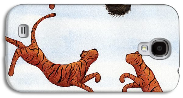 Studio Drawings Galaxy S4 Cases - Tigers on a Trampoline Galaxy S4 Case by Christy Beckwith