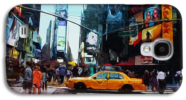 Times Square Taxi- Art By Linda Woods Galaxy S4 Case by Linda Woods