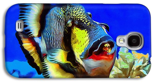 Triggerfish Paintings Galaxy S4 Cases - Titan triggerfish Galaxy S4 Case by Sergey Lukashin