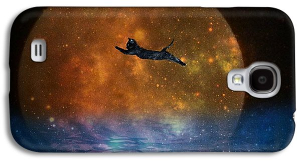 Nature Abstracts Galaxy S4 Cases - To the Moon and Back Cat Galaxy S4 Case by Kathy Barney