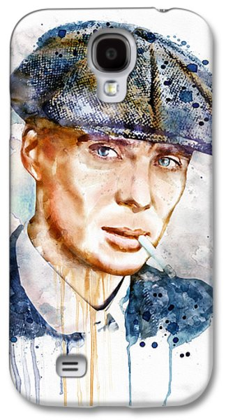 """""""square """" Mixed Media Galaxy S4 Cases - Tommy Shelby watercolor Galaxy S4 Case by Marian Voicu"""