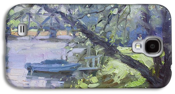 Waterscape Paintings Galaxy S4 Cases - Tonawanda Canal Side Galaxy S4 Case by Ylli Haruni