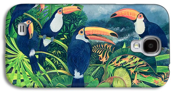 Group Of Birds Paintings Galaxy S4 Cases - Toucan Talk Galaxy S4 Case by Lisa Graa Jensen