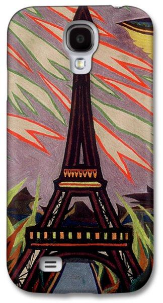 Science Fiction Pastels Galaxy S4 Cases - Tour Eiffel et OVNI Galaxy S4 Case by Robert  SORENSEN
