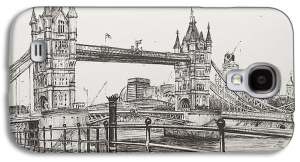 Pen And Ink Drawing Drawings Galaxy S4 Cases - Tower Bridge Galaxy S4 Case by Vincent Alexander Booth