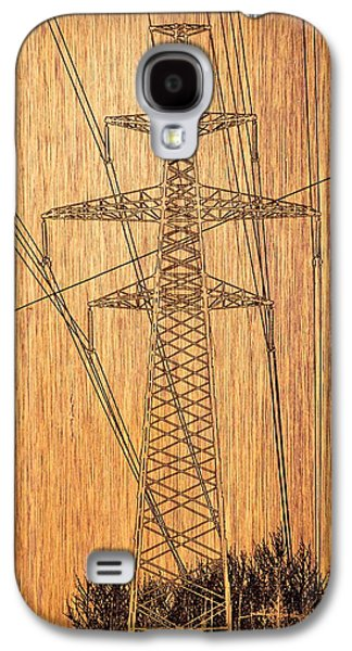 Graphic Pyrography Galaxy S4 Cases - Tower of high-voltage lines. Galaxy S4 Case by Alexey Bazhan