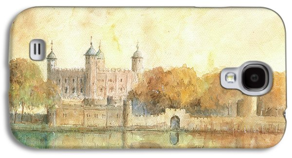 Tower Of London Watercolor Galaxy S4 Case by Juan Bosco