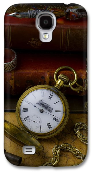 Train Pocket Watch And Old Books Galaxy S4 Case by Garry Gay