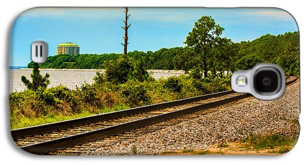 Transportation Tapestries - Textiles Galaxy S4 Cases - Train tracks and water Galaxy S4 Case by James Hennis
