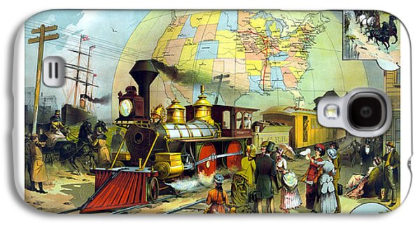 Globe Paintings Galaxy S4 Cases - Transcontinental Railroad Galaxy S4 Case by War Is Hell Store