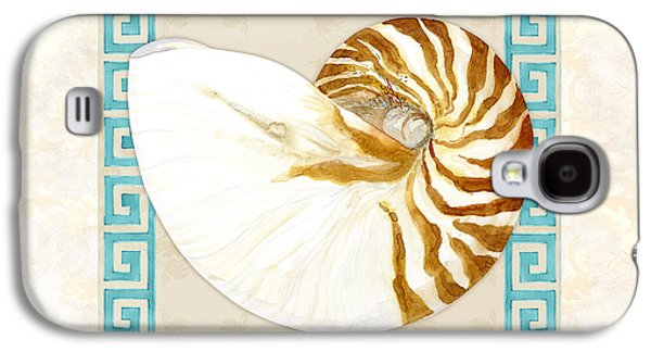The Tiger Paintings Galaxy S4 Cases - Treasures from the Sea - Tiger Nautilus Shell Galaxy S4 Case by Audrey Jeanne Roberts