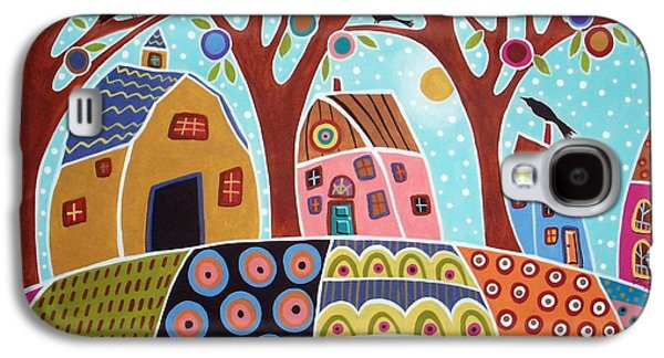 Sale Paintings Galaxy S4 Cases - Trees Houses Barn And Birds Galaxy S4 Case by Karla Gerard