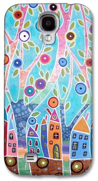 Landscape Acrylic Prints Galaxy S4 Cases - Trees Houses Landscape Galaxy S4 Case by Karla Gerard