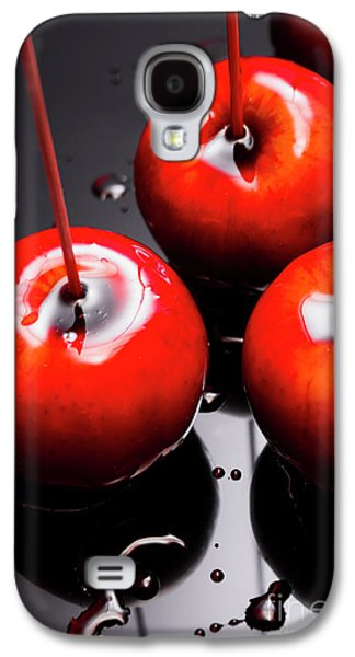 Trio Of Bright Red Home Made Candy Apples Galaxy S4 Case by Jorgo Photography - Wall Art Gallery