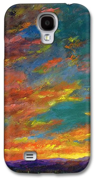 Southwest Landscape Galaxy S4 Cases - Triptych 1 Desert Sunset Galaxy S4 Case by Frances Marino