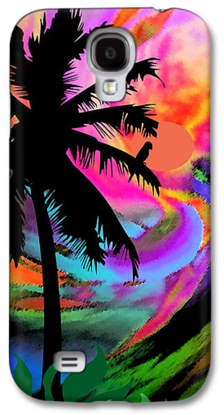 Sunset Abstract Galaxy S4 Cases - Tropical Sunset Il Galaxy S4 Case by Kathy Franklin