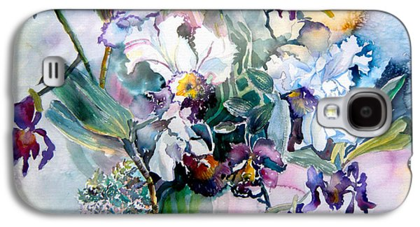 Flora Mixed Media Galaxy S4 Cases - Tropical White Orchids Galaxy S4 Case by Mindy Newman