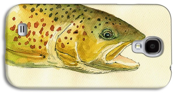 Rainbow Trout Galaxy S4 Cases - Trout watercolor painting Galaxy S4 Case by Juan  Bosco