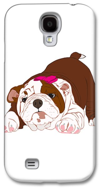 Puppies Digital Art Galaxy S4 Cases - Tuff Puppy in Pink Galaxy S4 Case by Ronni Rae