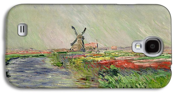 Windmill Galaxy S4 Cases - Tulip Field in Holland Galaxy S4 Case by Claude Monet