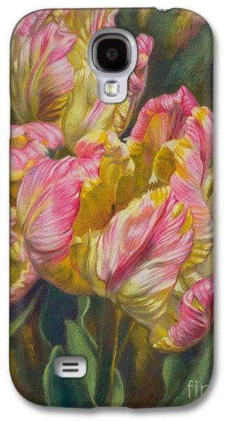 Universities Pastels Galaxy S4 Cases - Tulipomania 7 Pink and Yellow Parrots Galaxy S4 Case by Fiona Craig