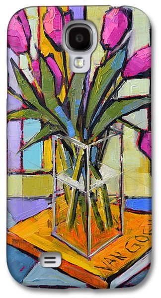 Interior Still Life Paintings Galaxy S4 Cases - Tulips And Van Gogh - Abstract Still Life Galaxy S4 Case by Mona Edulesco