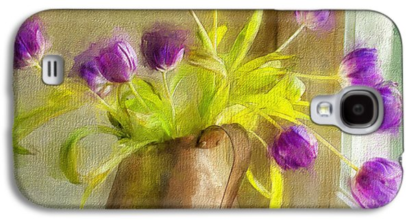 Interior Still Life Mixed Media Galaxy S4 Cases - Tulips Arrayed Galaxy S4 Case by Terry Rowe
