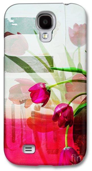 Interior Still Life Mixed Media Galaxy S4 Cases - Tulips for U - Graffiti Flowers Galaxy S4 Case by Anahi DeCanio - ArtyZen Studios