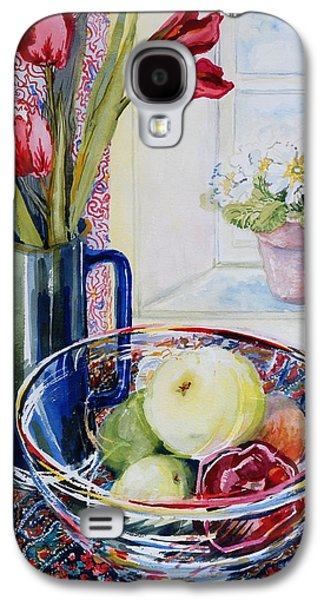 Tasteful Art Galaxy S4 Cases - Tulips in a Jug with a glass bowl Galaxy S4 Case by Joan Thewsey