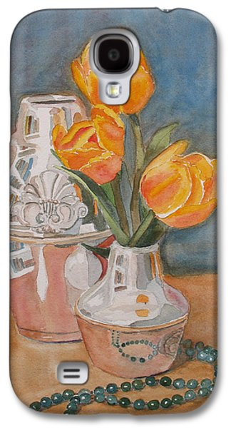 Floral Still Life Paintings Galaxy S4 Cases - Tulips Jade and Books Galaxy S4 Case by Jenny Armitage
