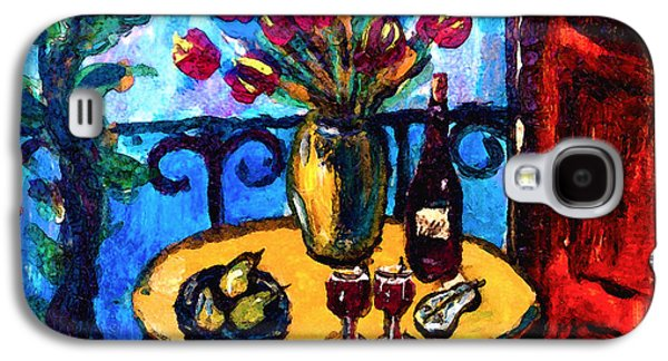 Italian Wine Paintings Galaxy S4 Cases - Tulips Wine and Pears Galaxy S4 Case by Karon Melillo DeVega