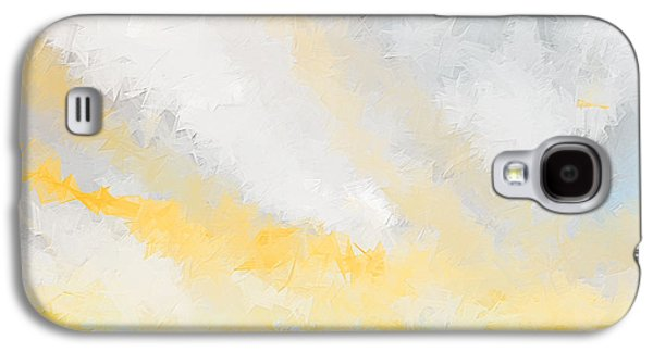 Sunset Abstract Galaxy S4 Cases - Turquoise And Yellow Art Galaxy S4 Case by Lourry Legarde