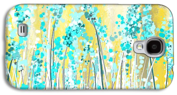 Turquoise And Yellow Galaxy S4 Case by Lourry Legarde