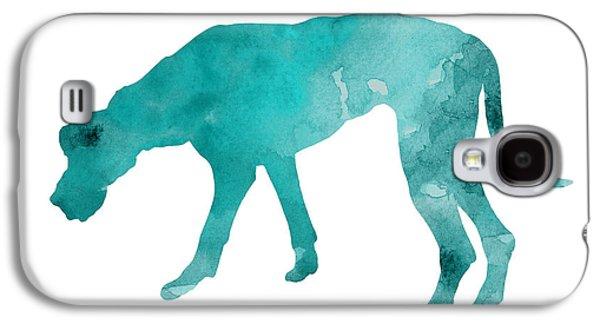 Turquoise Great Dane Watercolor Art Print Paitning Galaxy S4 Case by Joanna Szmerdt