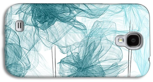 Blue Abstracts Galaxy S4 Cases - Turquoise In Sync Galaxy S4 Case by Lourry Legarde