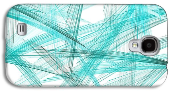 Blue Abstracts Galaxy S4 Cases - Turquoise Spikes Galaxy S4 Case by Lourry Legarde