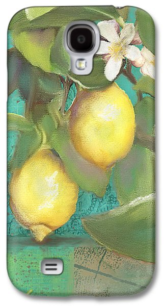 Color Block Galaxy S4 Cases - Tuscan Lemon Tree - Damask Pattern 2 Galaxy S4 Case by Audrey Jeanne Roberts