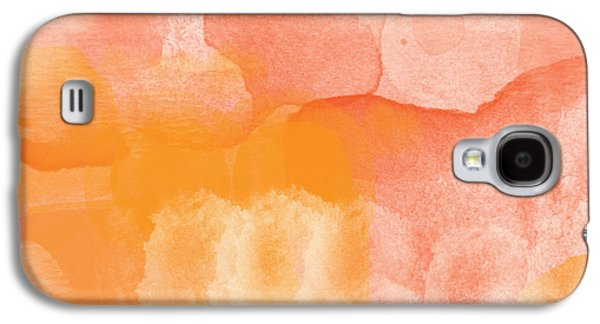 Orange Mixed Media Galaxy S4 Cases - Tuscan Rose- Abstract Watercolor Galaxy S4 Case by Linda Woods