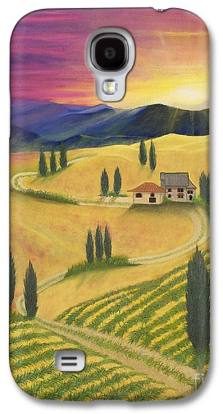 Tuscan Sunset Paintings Galaxy S4 Cases - Tuscan Sunset B Galaxy S4 Case by Cindy Lee Longhini