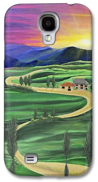 Tuscan Sunset Paintings Galaxy S4 Cases - Tuscan Sunset Galaxy S4 Case by Cindy Lee Longhini