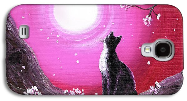 Cherry Blossoms Paintings Galaxy S4 Cases - Tuxedo Cat in Cherry Blossoms Galaxy S4 Case by Laura Iverson