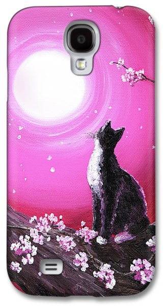 Tuxedo Cat In Cherry Blossoms Galaxy S4 Case by Laura Iverson