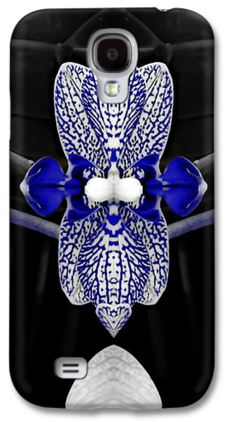 Abstract Digital Digital Galaxy S4 Cases - Tuxedo Orchid in Blue Galaxy S4 Case by Heather Joyce Morrill