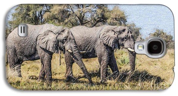 Two Elephant Bulls In The Okavango Delta Of Botswana Galaxy S4 Case by Liz Leyden