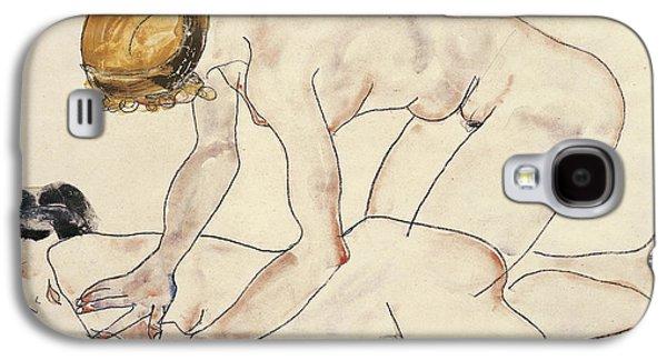 Two Female Nudes Galaxy S4 Case by Egon Schiele