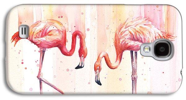 Two Flamingos Watercolor Galaxy S4 Case by Olga Shvartsur