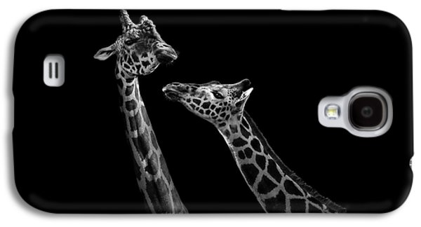 Two Giraffes In Black And White Galaxy S4 Case by Lukas Holas