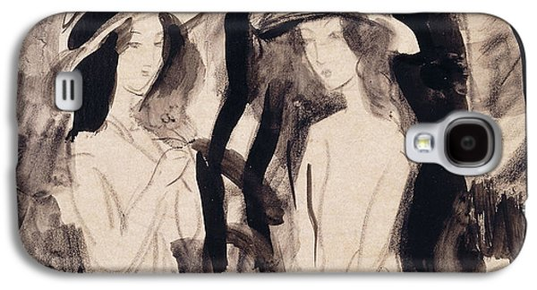 Abstract Movement Drawings Galaxy S4 Cases - Two Girls Galaxy S4 Case by August Macke