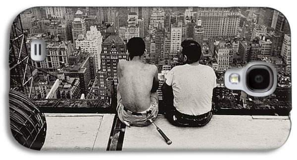 Hammer Galaxy S4 Cases - Two Men Sitting on a Scaffold Overlooking Manhattan Galaxy S4 Case by Nat Herz